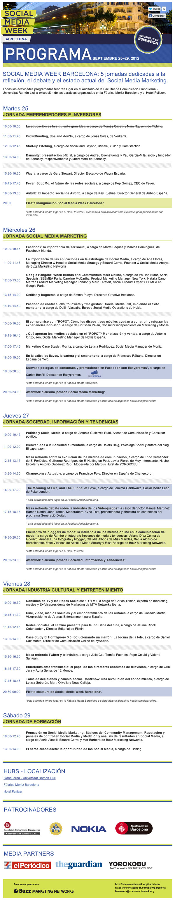 Programa Social Media Week Barcelona